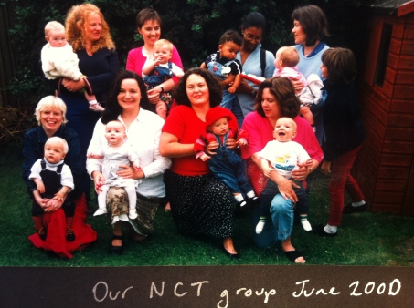 Alice in the red, me in the white, and friends and babies.