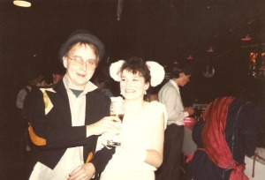Bruce and me, 6th form party, 1986.