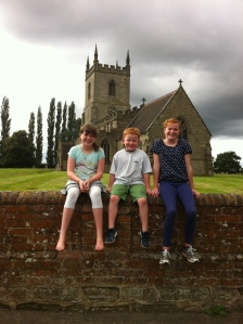Offspring on Swepstone Church wall. Dad's ashes are here.