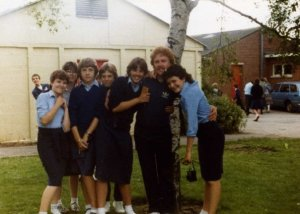 Ann took this photo. I am on the right, hugging our P.E. teacher Mr Brommel.  See what I mean about family!